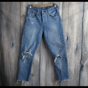 High rise Distressed Levi's jeans size 27w
